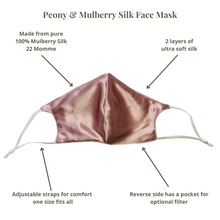 Load image into Gallery viewer, Peony & Mulberry Pure 100% Mulberry Silk Face Mask in Dark Pink (22 Momme)