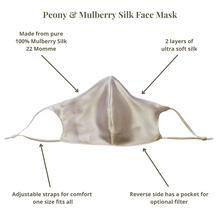 Load image into Gallery viewer, Peony & Mulberry Pure 100% Mulberry Silk Face Mask in White (22 Momme)