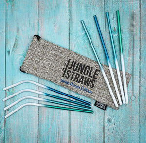 Ocean Themed Reusable Metal Straws • set of 8