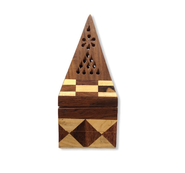 Sheesham Wood Pyramid Incense Burner Box