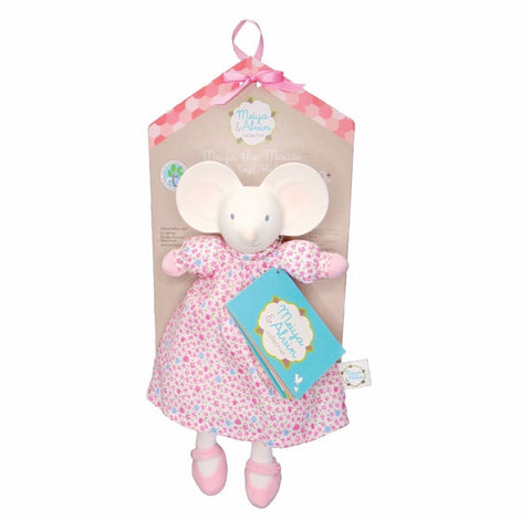 Natural Rubber Head, Organic Cotton Body Soft Toy – Meiya in Floral Dress