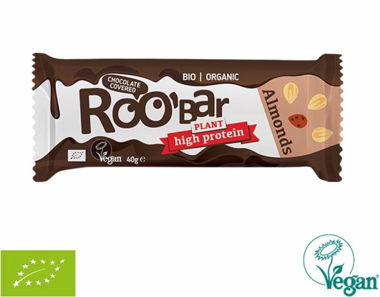RooBar High Protein Chocolate Covered Bar • Almond 40g