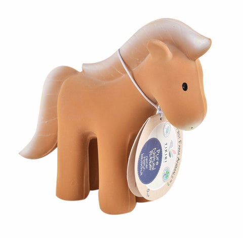 Tikiri Farm Horse – Natural Rubber Rattle and Bath Toy