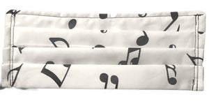 100% Cotton Face Mask • White Musical Notes