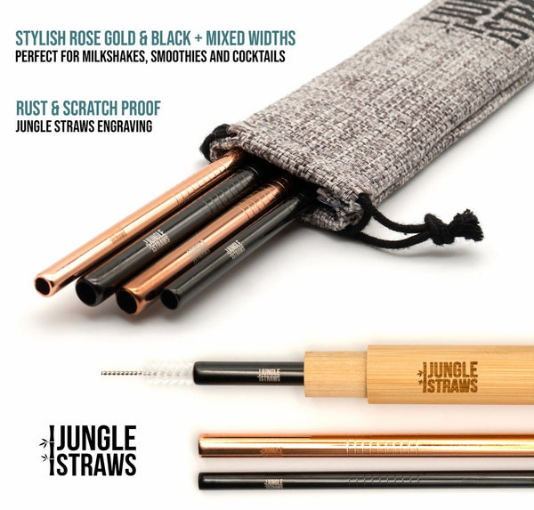 Stainless Steel Straws & Bamboo Case Black & Rose Gold