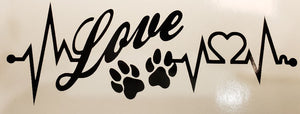 Love/Dog Paws Decal- black