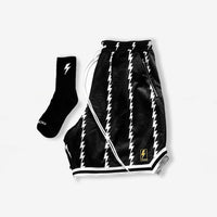 Lightning Pin Stripe Shorts in Obsidian Black