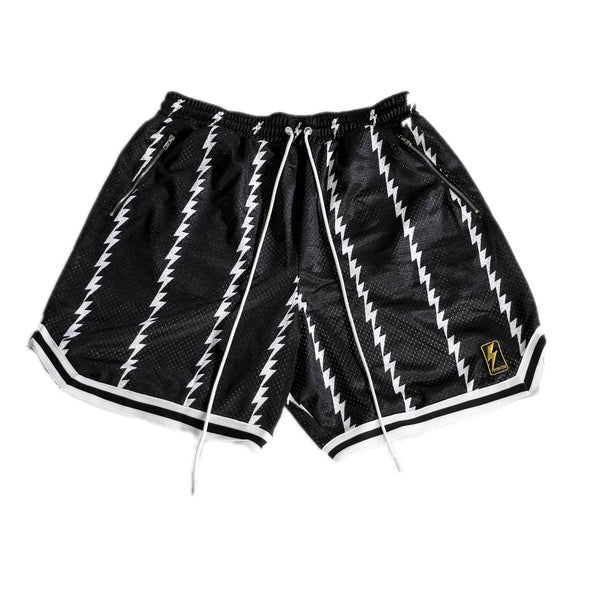 Mesh shorts layered with lightning pin stripes. Black elongated draw cord with metal zipped pockets.
