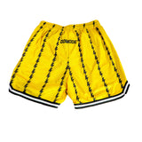 Lightning Pinstriped Shorts in DOMODE Yellow