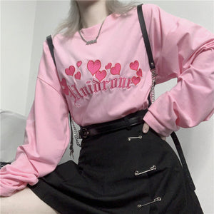 Harajuku Love Embroidery Long Sleeve Top