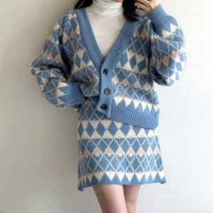 Winter Knitted 2 Pieces Set Argyle Cardigan & Elastic Waist Skirt