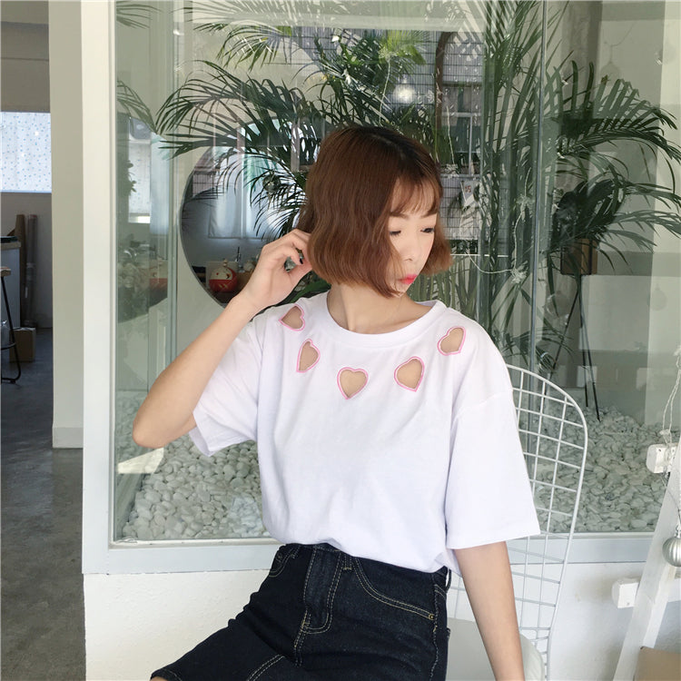 Hollow Heart Embroidery Top