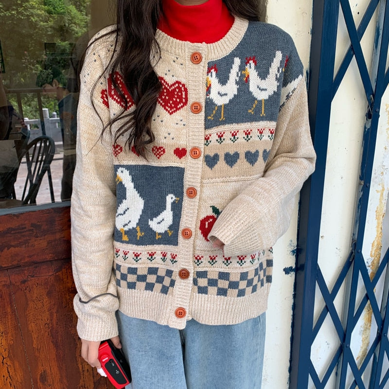 Vintage Casual Loose Love Cardigan Sweater