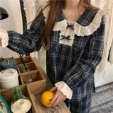 Cute Plaid Ruffle Sleepwear Set