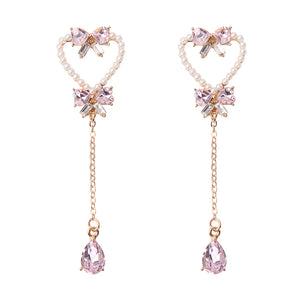 Pearl Rhinestone Bow Heart Tassle Earrings