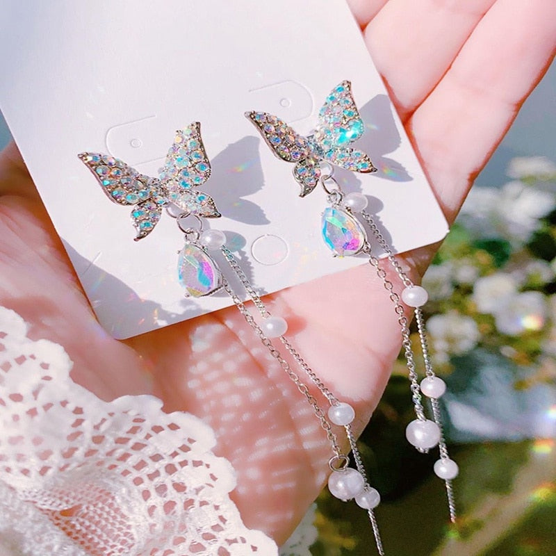 Feminine Butterfly Rhinestone Drop Pearl Tassel Earrings