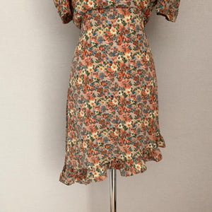 Autumn Boho Vintage Chiffon Floral Dress