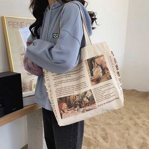 Vintage Alice in Wonderland Newspaper Canvas Shoulder Tote Bag