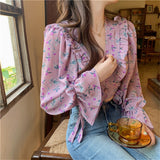 Chic Full Sleeve Vintage High Waist Ruffles Blouse
