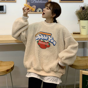 Kawaii Bubblegum Long Sleeve Fleece Pullover Top