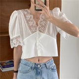 White Lace Puff Sleeve Summer Blouse