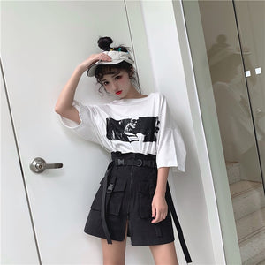 Harajuku Punk High Waist Belted Pocket Skirt