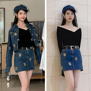 KPOP *IU* Three Piece Set Hotel Del Luna Fashion Jean Skirt and Matching Jacket