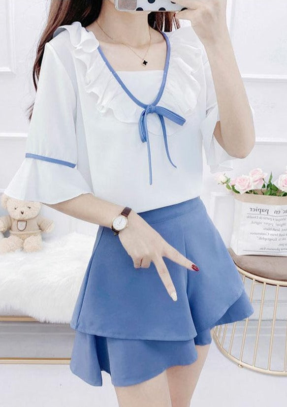 Girly Two Piece Ruffle Blouse and Shorts Set
