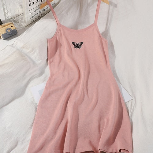 Sweet Butterfly Embroided Bodycon Cami Dress