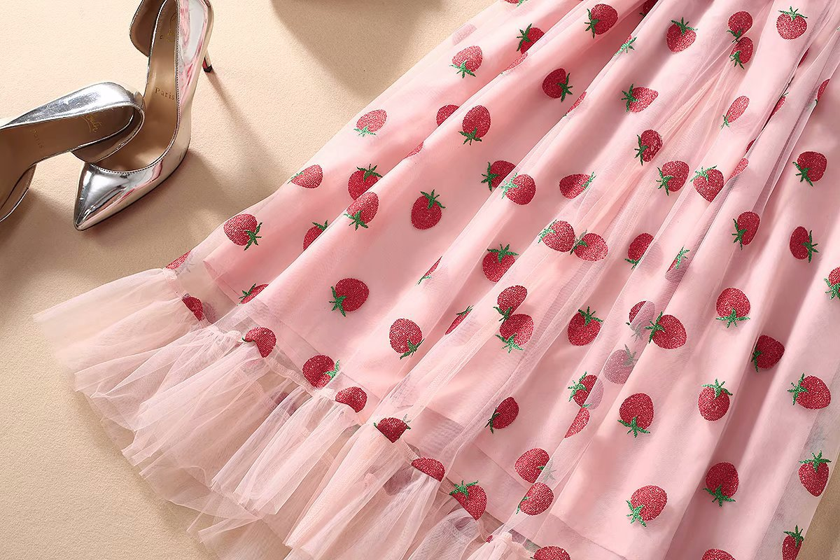 HOT Strawberry Ruffle Mid-Length Dress
