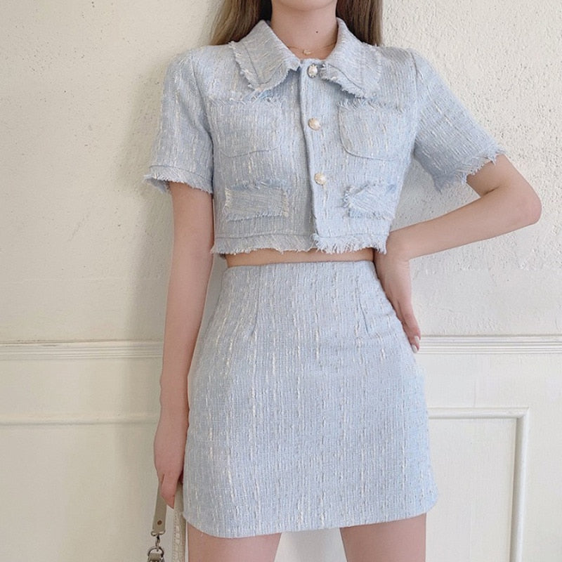 Elegant Two Piece Skirt and Collared Button Up Top Set
