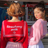 Kawaii Strawberry Milk Sailor Collar Sweater