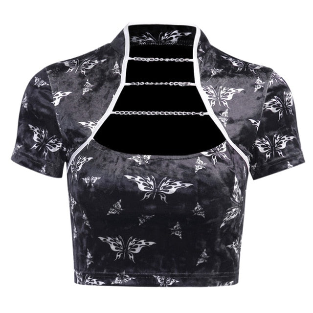 Velvet Butterfly Chain Detail Cropped Retro Top