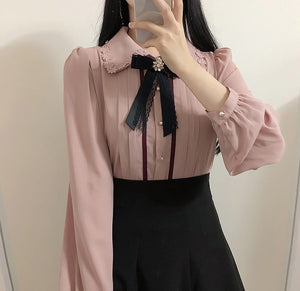 Girly Chiffon Bow Blouse