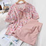 Vintage Floral Two Piece Bow Blouse and Shorts Set