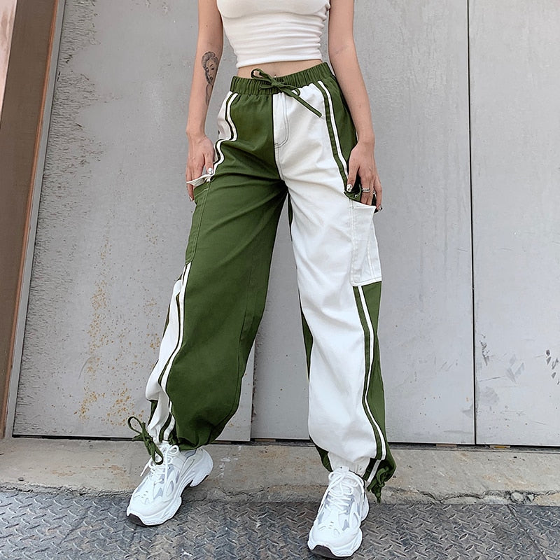 Green White Patchwork Casual High Waisted Joggers