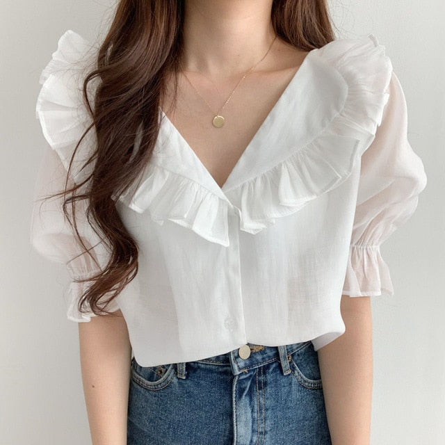 Romantic Ruffle Chiffon Top