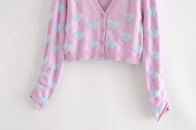 Cute Pink Heart Print Women Top and Cardigan Matching Set