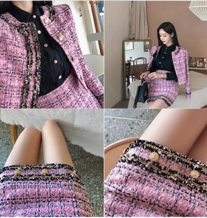 Pink Elegant Plaid Tweed Two Piece Set - Bow Tie Outerwear Coat + High Waist Mini Skirt