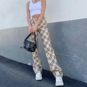 Checkered Print Straight Long Trousers High Waisted Pants