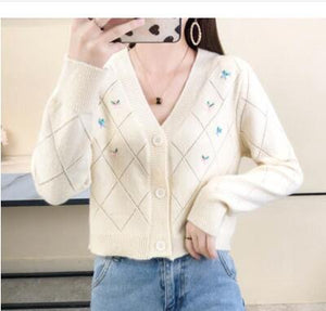 Super Cute Embroidery Flower Cardigan