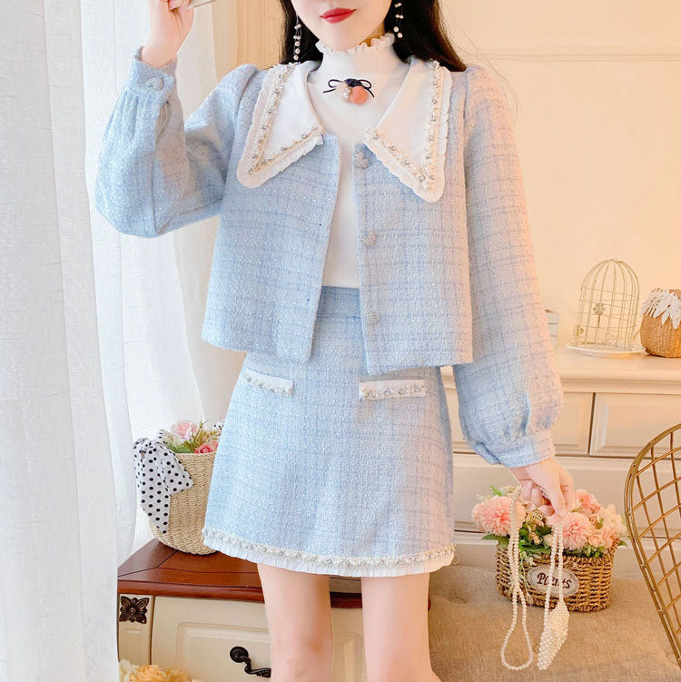 Elegant Tweed Cropped Jacket + Skirt Two Piece Suit