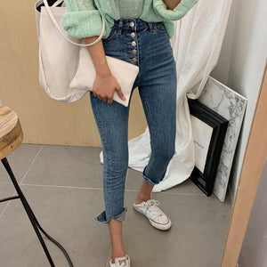 Autumn 2020 Korean Slim High Waist Skinny Jeans