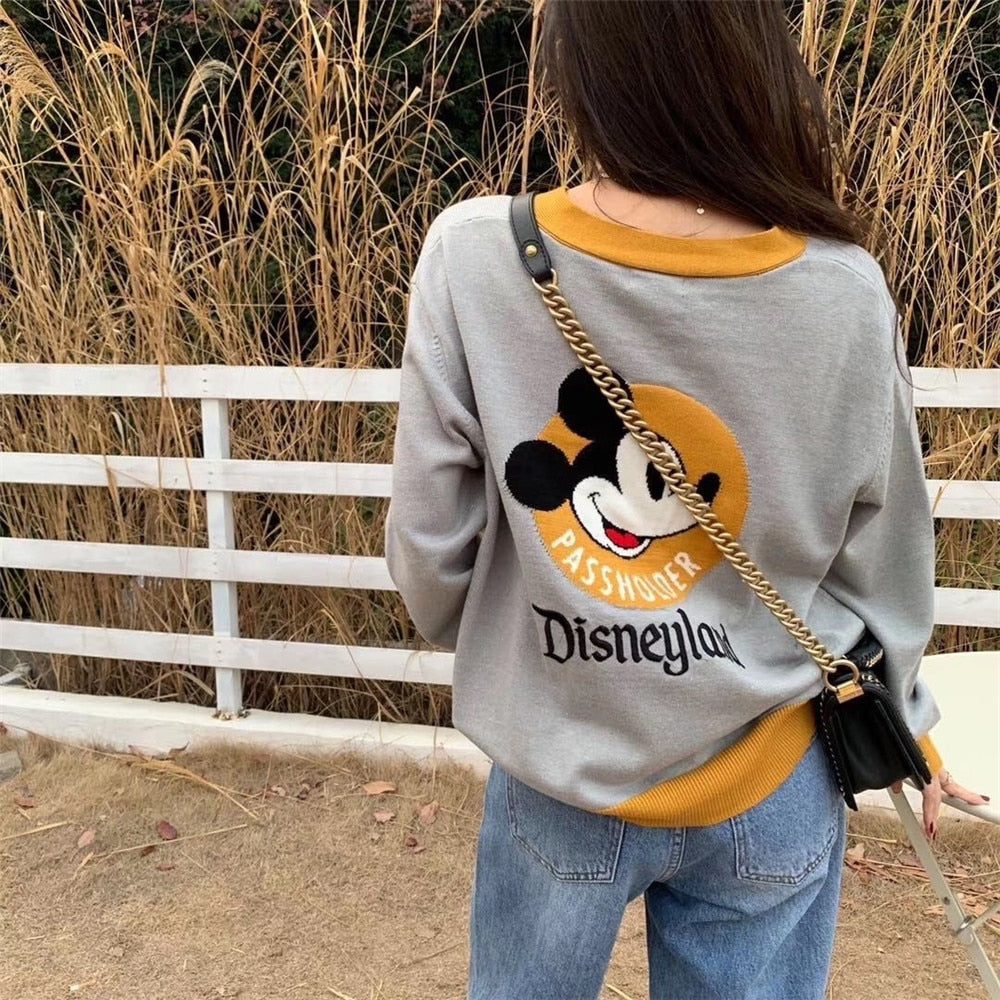 Disney Knitted Sweater Mickey Mouse Disneyland Cardigan Top