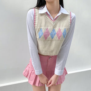 Argyle Plaid Knitted Y2K Sweater Vest