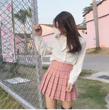Harajuku Plaid High Waist Pleated Skirt