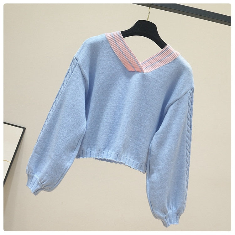 Adorable Kawaii Pastel Vintage Bow Knit Pullover Jumper
