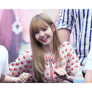 BLACKPINK LISA Heart Print Knit Top and Skirt Set