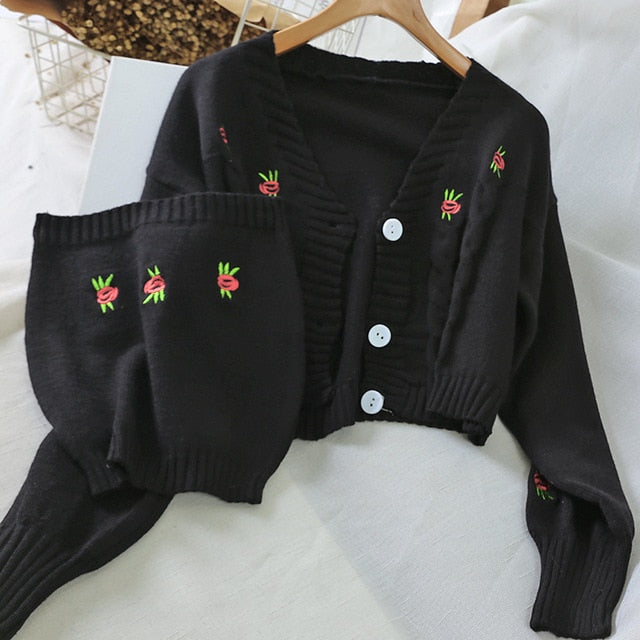 Embroidery Flower Sweater Knit Cardigan and Crop Top Set