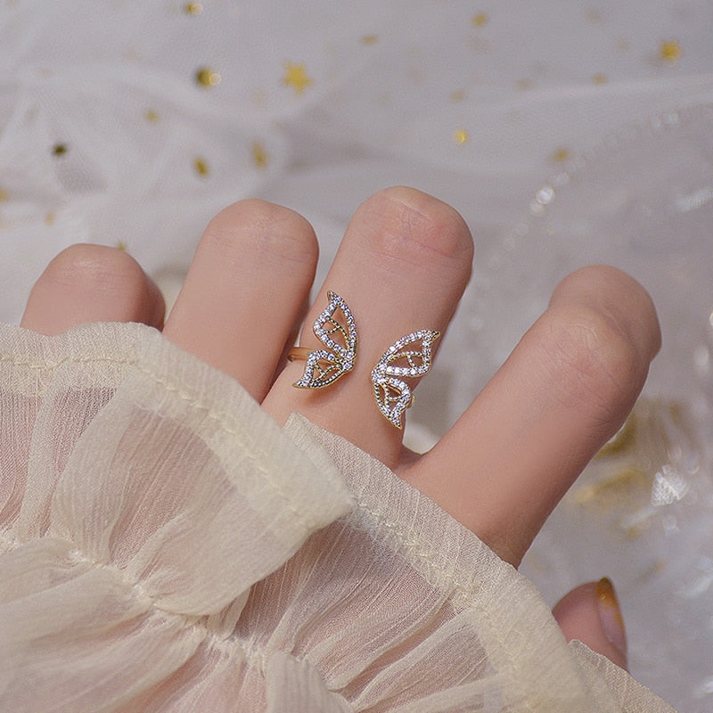 Gold Dainty Butterfly Ring